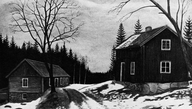 Kvarnen, Rösjöholm, nu ett minne blott. Oljemålning av förf.