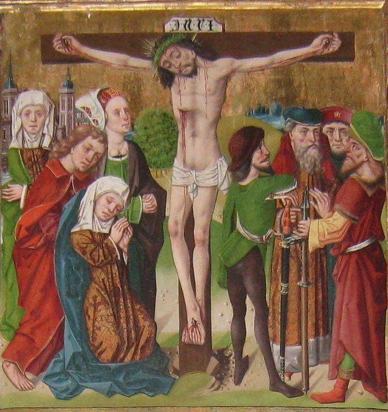 Jesus på korset. Detalj av altarskåpsmålning