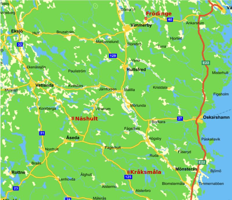 Karta över del av östra Småland