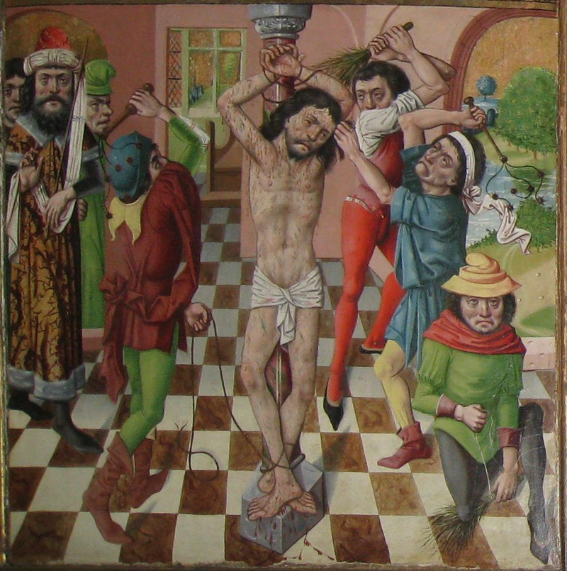 """Kristi hudflängning. Flygelmålning till altarskåpet. """"Oldgesällens stil"""" enligt Johnny Roosval"""
