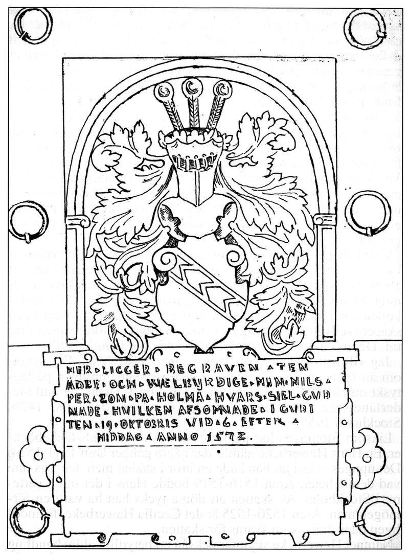 Nils Persson Silfversparres gravhäll. Efter teckning av P.G. Vistrand
