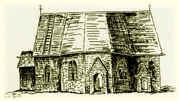 Näshults kyrka efter en teckning av PG Vistrand 1876